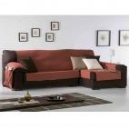 Funda de sofá práctica Chaise longue Lona liso de Eysa